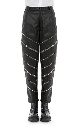 Stretch Eco-Leather Studded Pants