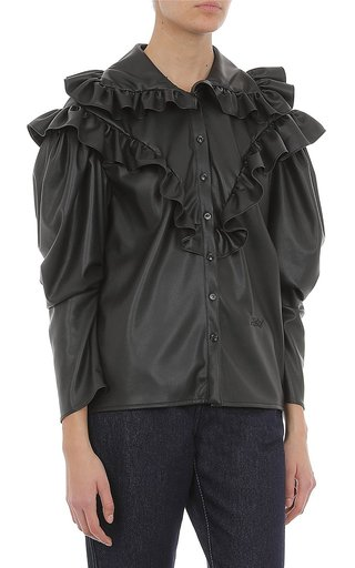 Stretch Eco-Leather Blouse