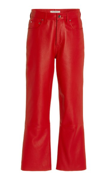 Cropped Leather Straight-Leg Pants