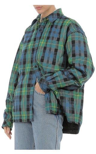 Wool Tartan Quilted Shirt Jacket