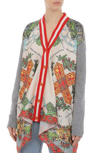 Cashmere-Blend Printed Twill Cardigan