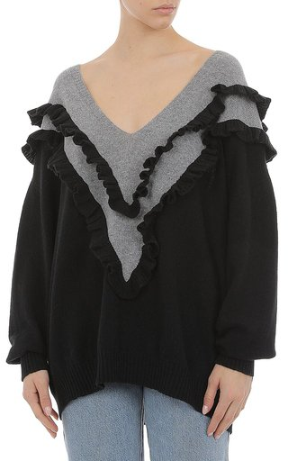 Ruffled Cashmere-Blend Sweater