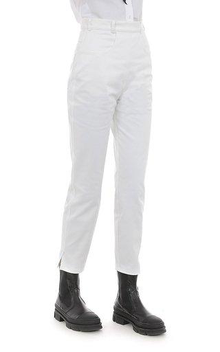 Cotton Gabardine High-Waisted Pants