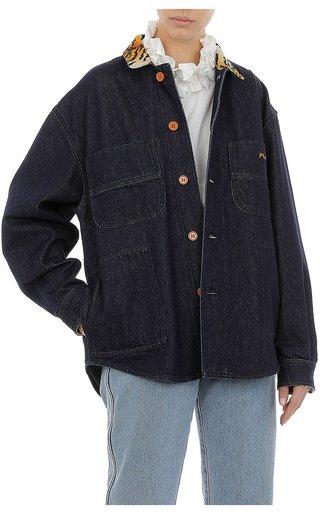Tiger-Print Trimmed Denim Shirt Jacket