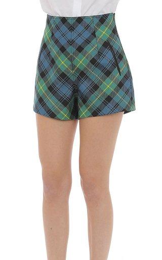 Wool Tartan Mini Shorts