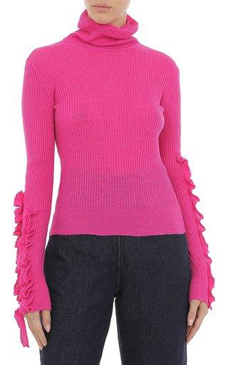 Ruffled-Sleeve Light Alpaca Blend Sweater