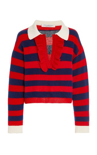 Ruffled Striped Wool-Cashmere Sweater