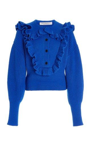Ruffle Collar Extrafine Merino Wool Sweater
