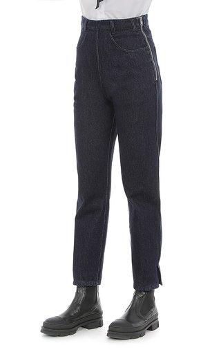 Dark-Washed High-Waisted Denim Pants