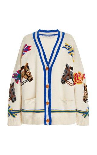 Oversized Equestrian Wool Cardigan