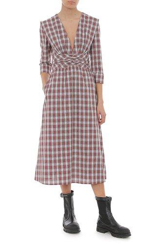 Tartan Poplin Midi Dress