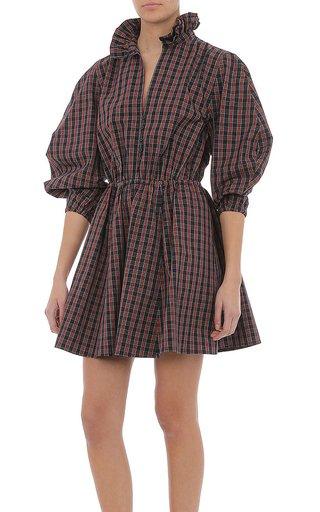Stretch Tartan Poplin Mini Dress