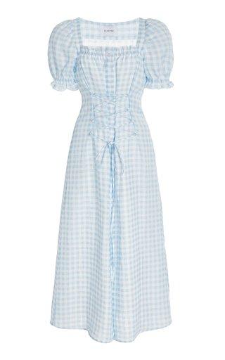 Marquise Corseted Linen Midi Dress