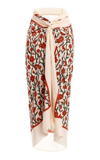 Lavanda Mandevilla-Printed Cotton Silk Pareo