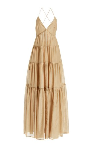 Apollo Silk and Cotton-Blend Maxi Dress