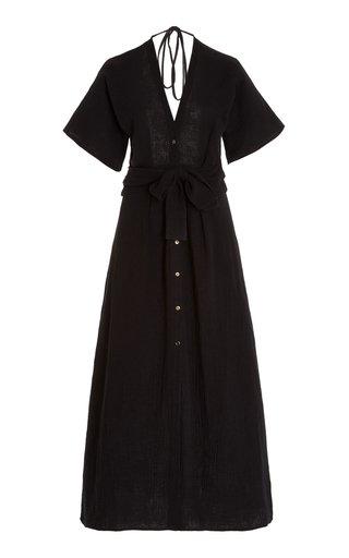 Ines Open-Back Cotton Maxi Shirt Dress