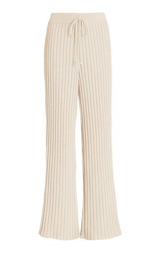 Ribbed-Knit Wide-Leg Pants