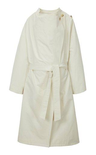 Draped Gabardine-Cotton Trench Coat