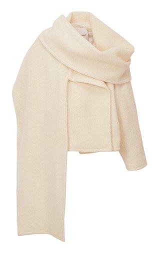 Muffler Wool-Blend Knit Jacket