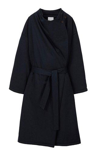Draped Gabardine Trench Coat