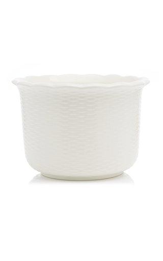 Scalloped Ceramic Wicker Cachepot