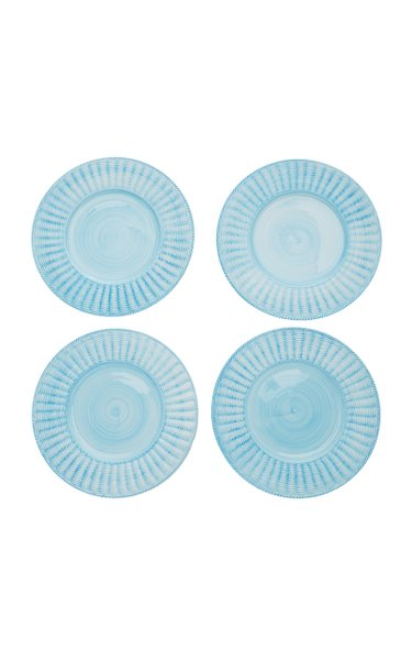 Set-Of-Four Hand-Painted Ceramic Wicker Charger Plates