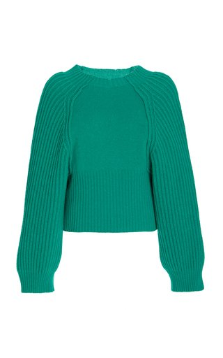 Puff-Sleeve Cashmere-Wool Cropped Sweater