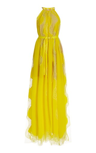 Tiffany Lace-Inset Belted Silk Maxi Dress