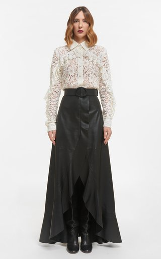Kanna Corded Lace Collared Buttondown Blouse With Ruffle Detail