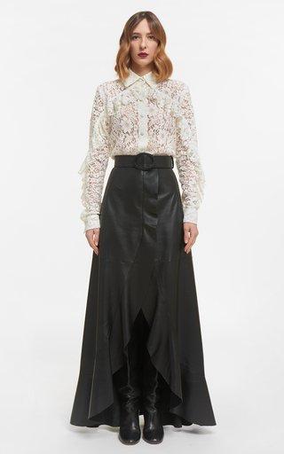 Selissa Soft Lamb-Skin Leather Wrap Skirt With Ruffled Edge