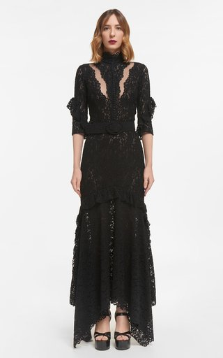 Darrie Corded Lace Dress With Illusion Cut-Outs & Coordinating Belt