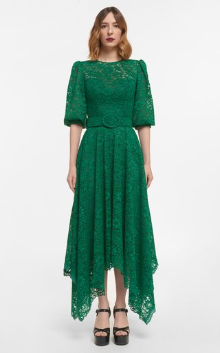 Mina Corded Lace Handkerchief Dress With Puff Sleeves & Coordinating Belt