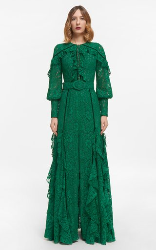 Patrice Corded Lace Buttoned Ruffle Dress With Velvet Trim & Coordinating Belt