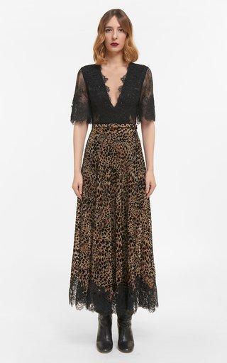 Sinda Flocked Leopard Velvet Devore Dress With Sequinned Gossamer Lace & Coordinating Belt