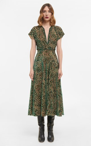 Sasha Flocked Leopard Velvet Devore Dress With Flutter Sleeves