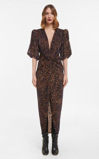 Laria Flocked Leopard Velvet Devore Draped Dress With Knotted Waist Detail