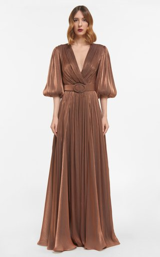 Mira Iridescent Lurex Georgette Draped Gown With Side Slit & Coordinating Belt