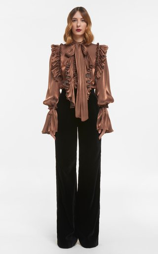 Marissa Iridescent Lurex Georgette Pussybow Blouse With Ruffle Detail