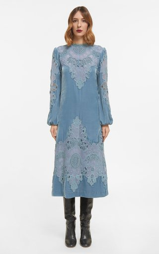 Samantha - Silk Velvet Midi Dress With Embroidered Lace Appliques