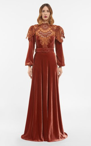 Ashley Silk Velvet Gown With Embroidered Lace Appliques