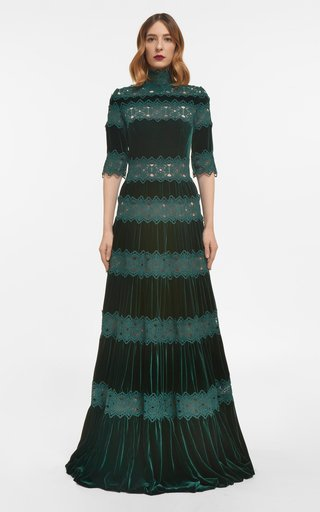 Lissie Silk Velvet Gown With Guipure Lace Trims