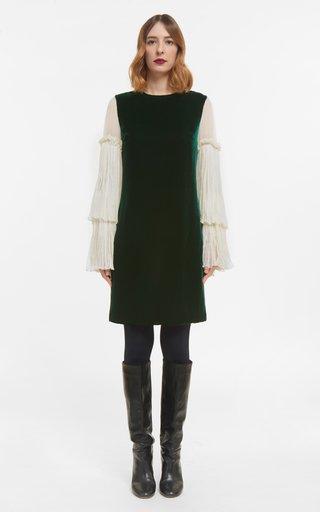 Denissa Velvet Shift Dress With Crinkled Silk Chiffon Bell Sleeves