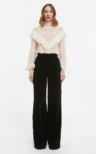 Elsie Silk Chiffon Blouse With Ruffled Illusion Neckline & Embroidered Details