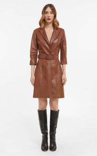 Kessa Soft Lamb-Skin Leather Blazer Dress