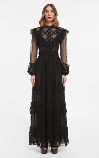 Shana Dotted French Tulle Dress With Ruffled Illusion Neckline & Embroidered Details