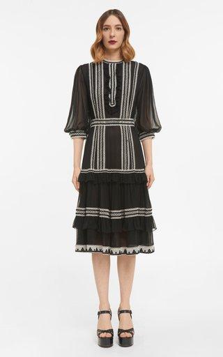 Rita Silk Chiffon Dress With Crocheted Cotton Lace Trims