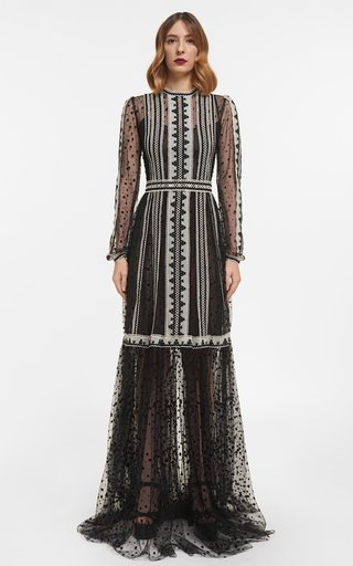 Irina Flocked Polka-Dot Tulle Gown With Crocheted Cotton Lace Trims