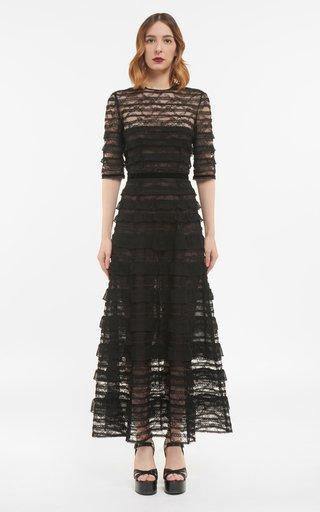 Maxine Chantilly Lace Dress With Silk Chiffon Ruffles & Inner Mini Dress