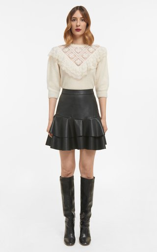 Julia Sustainable Mohair Illusion-Neckline Knit Sweater With Embroidery & Ruffle Detail