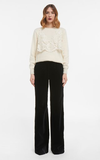 May- Sustainable Mohair Knit Sweater With Corded Lace Overlay